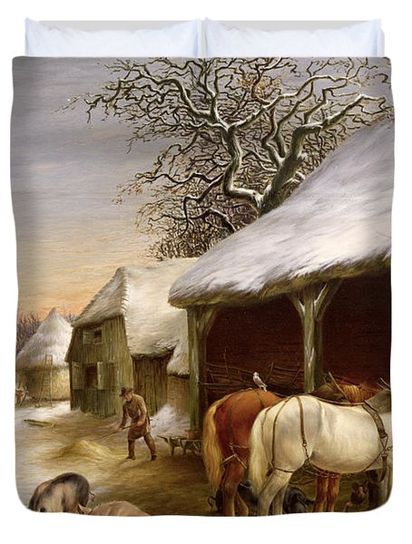Farmyard In Winter  Duvet Cover by Henry Woollett