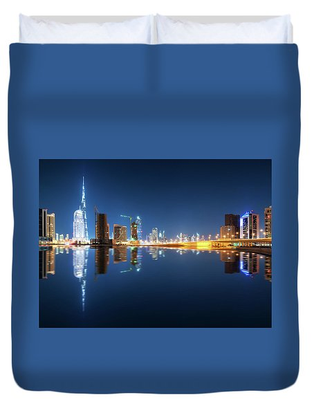 Fascinating Reflection Of Tallest Skyscrapers In Business Bay District During Calm Night. Dubai, United Arab Emirates. Duvet Cover