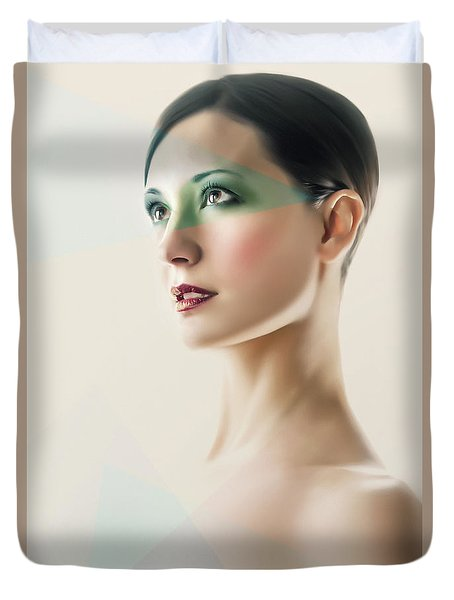 Duvet Cover featuring the photograph Fashion Beauty Portrait by Dimitar Hristov