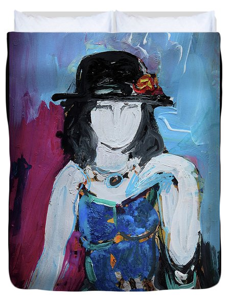 Fashion Woman With Vintage Hat And Blue Dress Duvet Cover