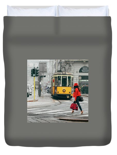 Fashionista In Milan, Italy Duvet Cover