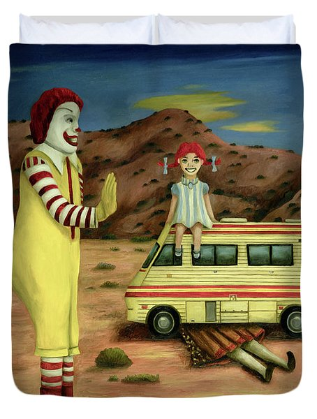 Duvet Cover featuring the painting Fast Food Nightmare 5 The Mirage by Leah Saulnier The Painting Maniac