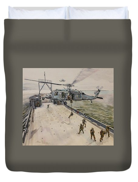 Duvet Cover featuring the painting Fast Rope by Stan Tenney