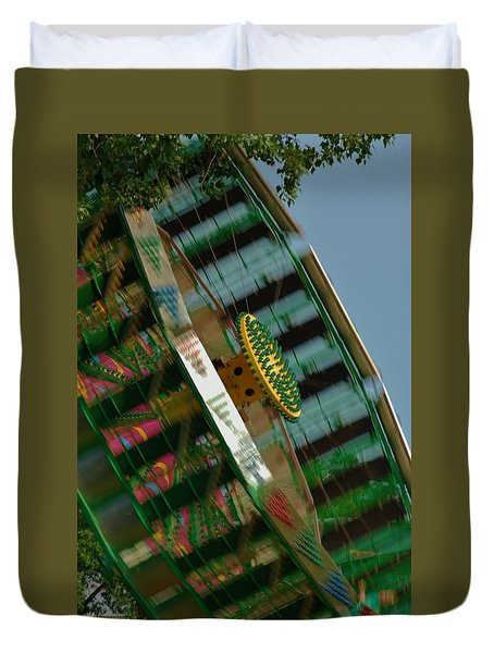 Duvet Cover featuring the photograph Faster And Faster We Go by Ramona Whiteaker