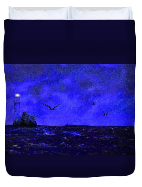Fastnet Light Ireland Night Duvet Cover