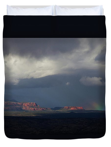 Duvet Cover featuring the photograph Fat Ground Rainbow, Red Rocks Sedona by Ron Chilston