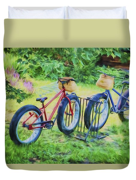 Duvet Cover featuring the photograph Fat Tire Bikes by Tom Singleton