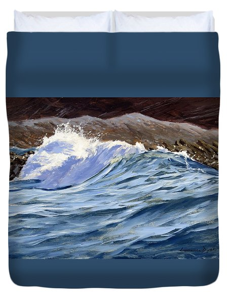 Duvet Cover featuring the painting Fat Wave by Lawrence Dyer