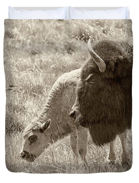 Duvet Cover featuring the photograph Father And Baby Buffalo by Rebecca Margraf