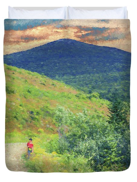 Father And Children Walking Together Duvet Cover
