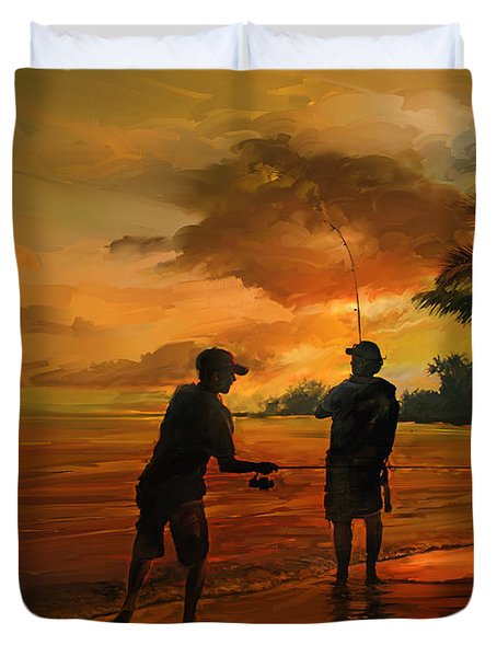Father And Son Fishing Duvet Cover by Rob Corsetti