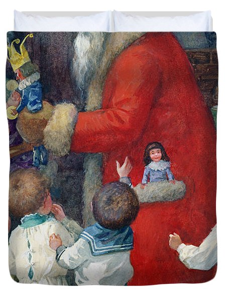 Father Christmas With Children Duvet Cover by Karl Roger