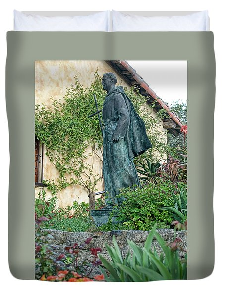Father Junipero Serra Statue At Mission Carmel Duvet Cover