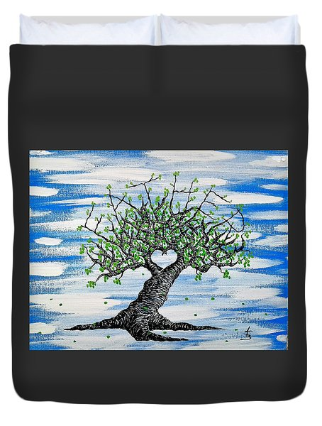 Duvet Cover featuring the drawing Father Love Tree by Aaron Bombalicki