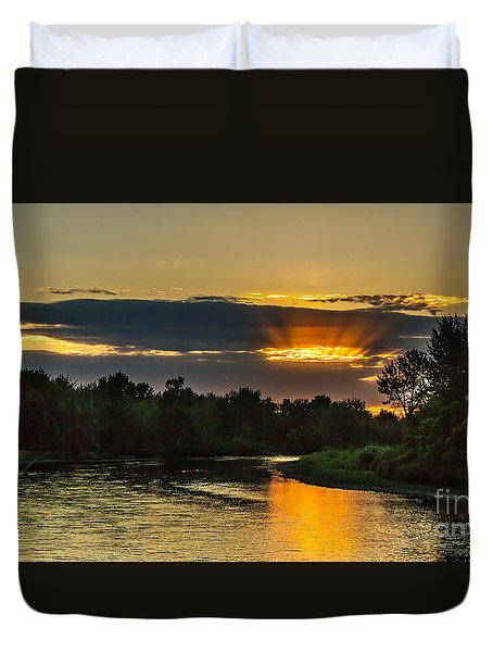 Father's Day Sunset Duvet Cover by Robert Bales