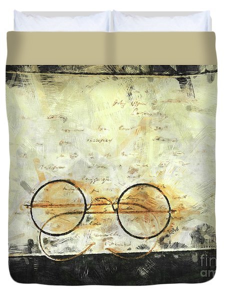 Duvet Cover featuring the photograph Father's Glasses by Claire Bull