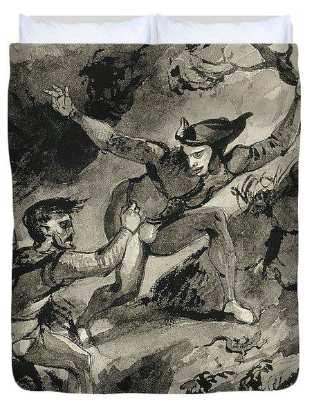 Faust And Mephistopheles On The Blocksberg Duvet Cover