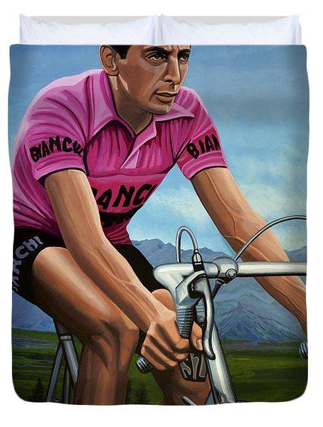 Fausto Coppi Painting Duvet Cover