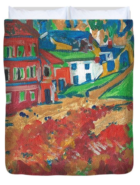Duvet Cover featuring the painting Fauvism by Janelle Dey