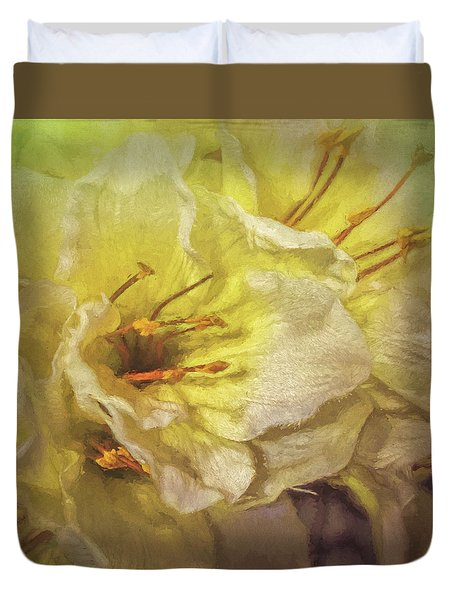 Duvet Cover featuring the photograph Faux Flowers by Lewis Mann