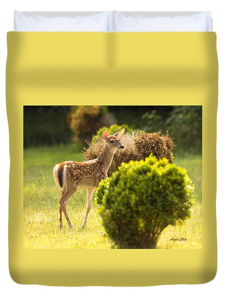 Duvet Cover featuring the photograph Fawn by Angel Cher