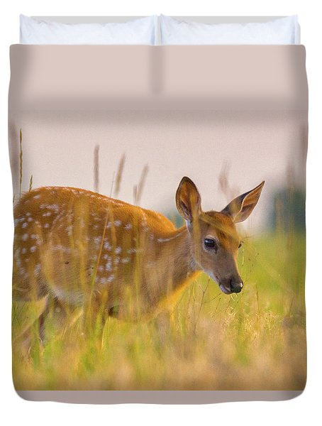 Fawn In Grasslands Duvet Cover