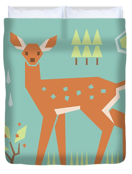 Fawn In The Meadow Duvet Cover