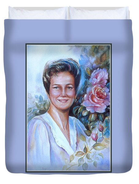 Duvet Cover featuring the painting Faye by Patricia Schneider Mitchell
