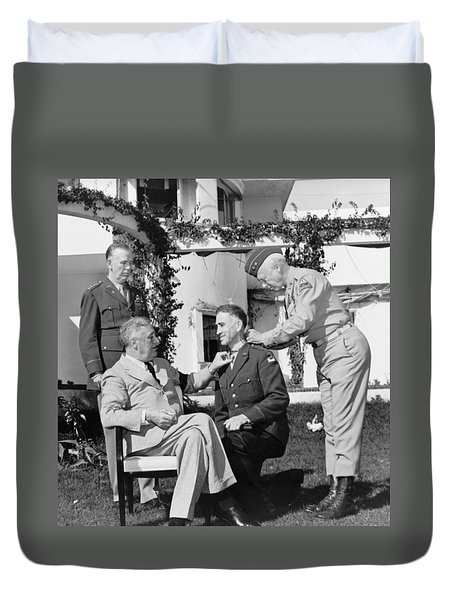 Duvet Cover featuring the photograph Fdr Presenting Medal Of Honor To William Wilbur by War Is Hell Store