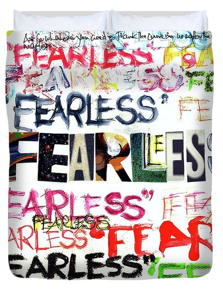 Duvet Cover featuring the mixed media Fearless by Carolyn Weltman