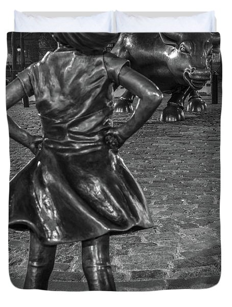 Fearless Girl And Charging Bull Nyc Duvet Cover