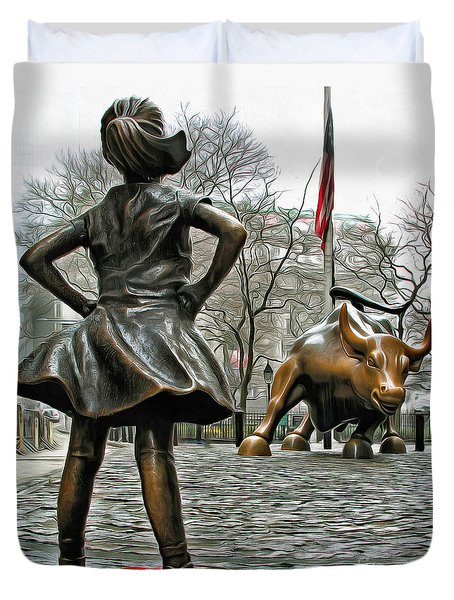 Fearless Girl And Wall Street Bull Statues 5 Duvet Cover