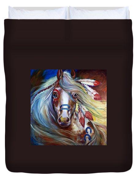 Fearless Indian War Horse Duvet Cover by Marcia Baldwin