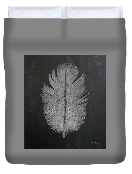 Duvet Cover featuring the pastel Feather 1 by Richard Le Page