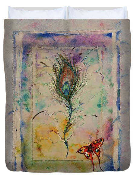Feather And Butterfly Duvet Cover