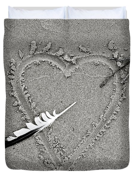 Feather Arrow Through Heart In The Sand Duvet Cover