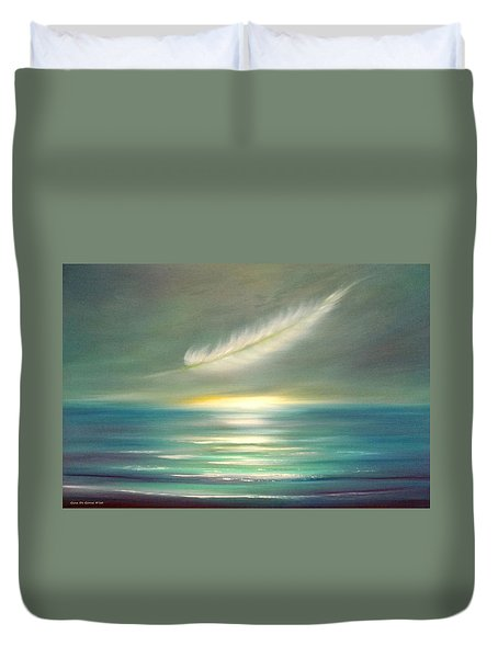 Feather At Sunset Duvet Cover