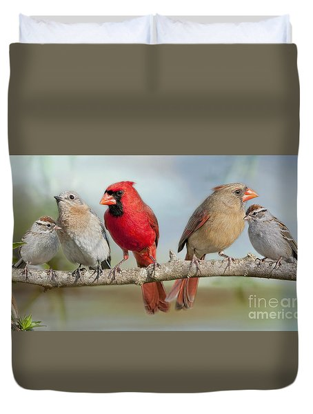 Feathered Fellowship Duvet Cover by Bonnie Barry