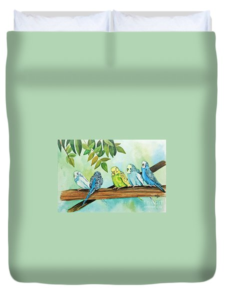 Duvet Cover featuring the painting Feathered Friends by Terri Mills
