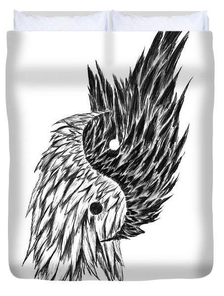 Feathered Ying Yang  Duvet Cover by Peter Piatt