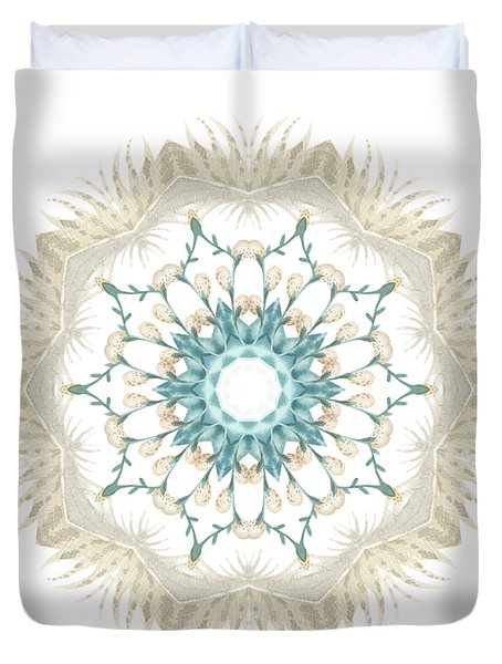 Duvet Cover featuring the digital art Feathers And Catkins Kaleidoscope Design by Mary Machare