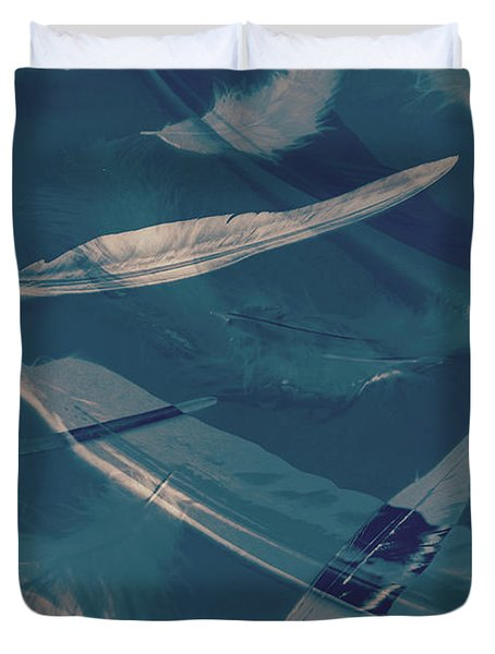 Feathers Floating In The Air Duvet Cover
