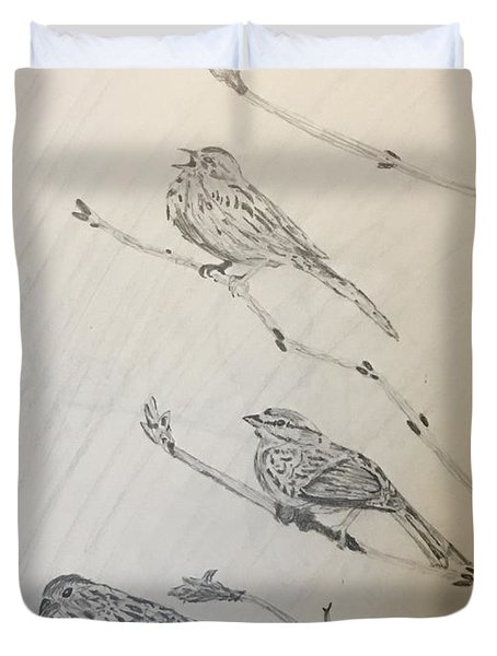 Feathers Friends Duvet Cover