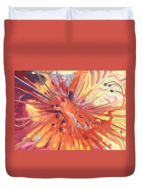 Feathers Of Fiery Orange Light Duvet Cover