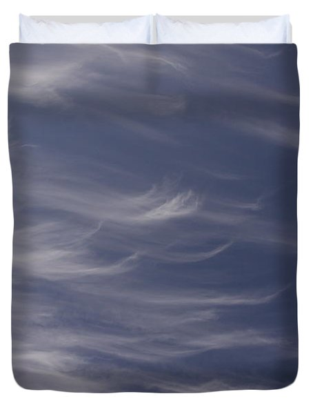 Duvet Cover featuring the photograph Feathery Sky by Shari Jardina