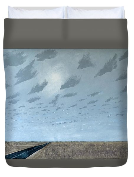 Duvet Cover featuring the painting February 10 by Kerry Beverly