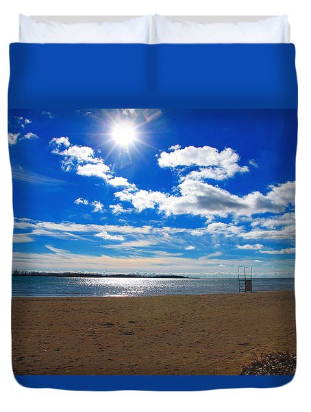 Duvet Cover featuring the photograph February Blue by Valentino Visentini