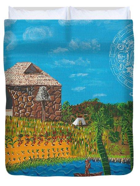 February  Mayan Farm Duvet Cover