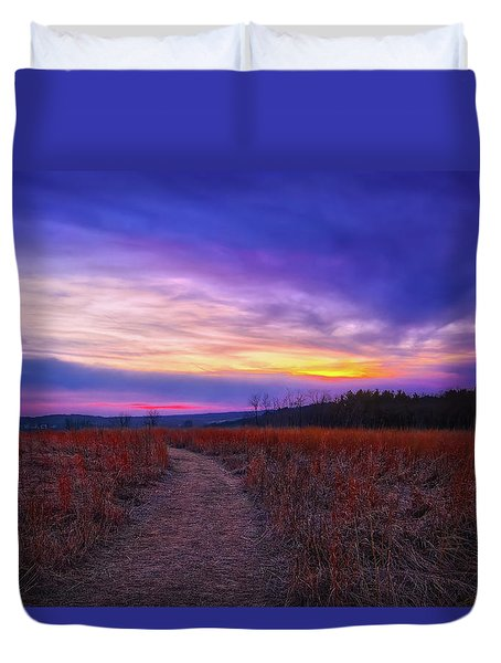 February Sunset And Path At Retzer Nature Center Duvet Cover by Jennifer Rondinelli Reilly - Fine Art Photography
