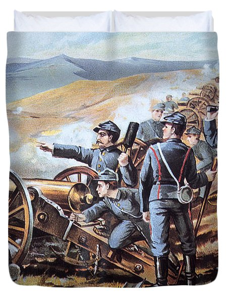 Federal Field Artillery In Action During The American Civil War  Duvet Cover by American School